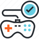 console, entertainment, game, gaming, joystick, play, testing icon
