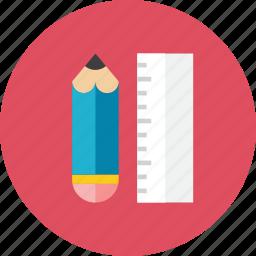 2, pencil, ruler icon