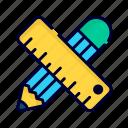 pencil and ruler, ruler, measure, tools, pencil, edit, write