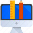 thinking, design, sketch, computer, idea icon