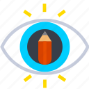 design, eye, idea, pencil, sketch, thinking icon