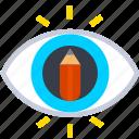 thinking, design, sketch, pencil, eye, idea icon