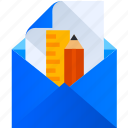 thinking, design, sketch, pencil, letter, email icon