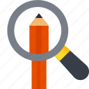 design, find, pencil, search, sketch, thinking icon