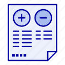 cons, document, minus, plus, pros icon