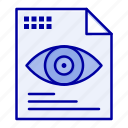computing, eye, file, text icon
