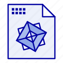 3d, design, file, processing icon