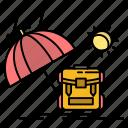 backpack, season, summer, sun icon