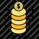 bundle, coins, money, transfer