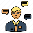 chat, man, manager, popup, sms icon