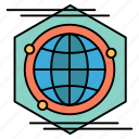 globe, idea, polygon, space icon