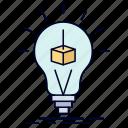 box, bulb, cube, idea, printing