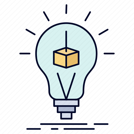 box, bulb, cube, idea, printing icon