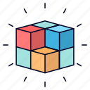 box, cube, labyrinth, puzzle, solution icon