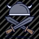 emblem, swords, viking, battle, warrior