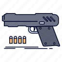 gun, handgun, pistol, shooter, weapon icon