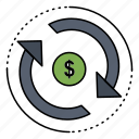 circulation, finance, flow, market, money icon