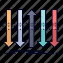 arrow, business, distinction, forward, individuality icon