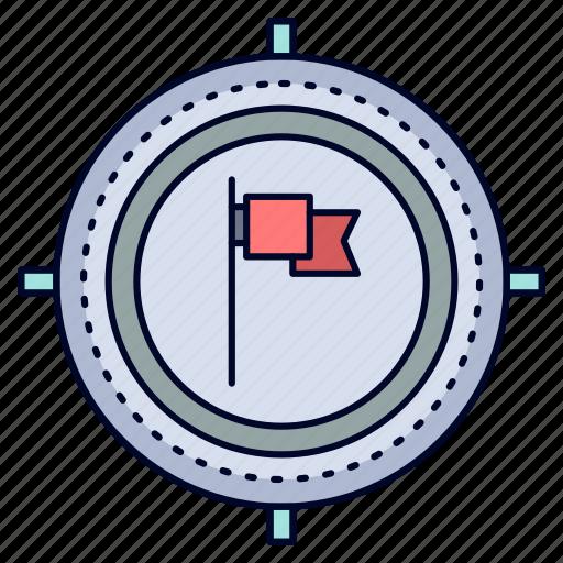 aim, business, deadline, flag, focus icon