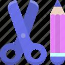 craft, handicraft, pencil, scissors icon