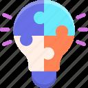 creative, creativity, lightbulb, puzzle, solution icon