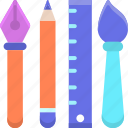 brush, design tools, fountain pen, paintbrush, pen, pencil, ruler icon