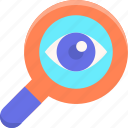 discovery, eye, find, finding, search, searching icon