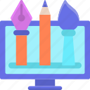 design tools, pen, paintbrush, vector