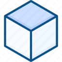3d, box, cube, design, development, digital, modeling, vertical view icon icon