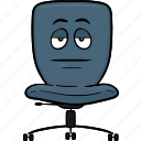 chair, desk, emoji, office, smiley icon