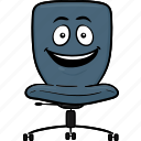 chair, desk, emoji, office, smiley icon