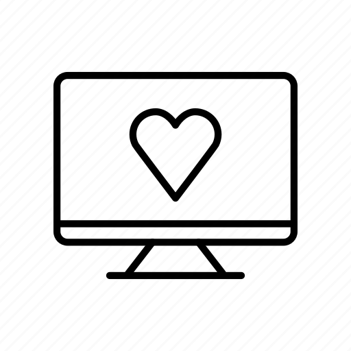 computer, desktop, device, heart, imac, love, screen icon
