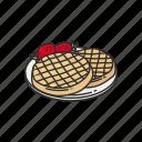 breakfast, dessert, dough, food, strawberry waffle, waffle