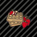 food, snack, strawberry, strawberry waffle, waffle icon
