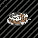 cake, caramel cake, chocolate, dessert, food, pie icon