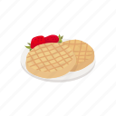 dessert, dough, food, meal, strawberry, waffles icon