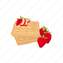 dessert, douh, food, meal, strawberry, waffles icon