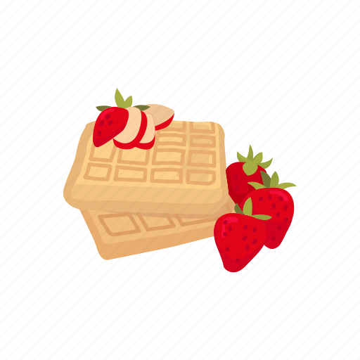 Dessert, douh, food, meal, strawberry, waffles icon - Download on Iconfinder
