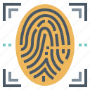 finger, fingerprint, scan, security icon