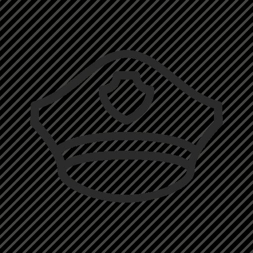 badge, detective, emblem, hat, police icon