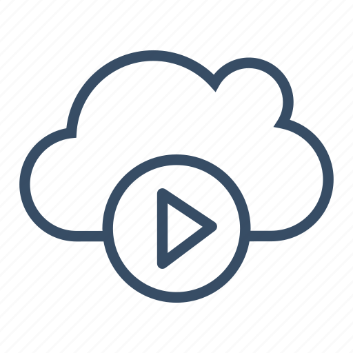 cloud, cloud play, media, play, service, streaming icon