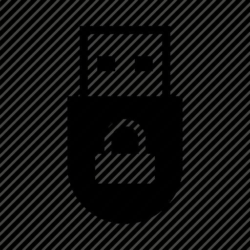 lock, memory, padlock, password, security, storage, usb icon