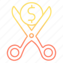 cut, cutting, expenses, general, money icon