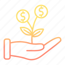 development and startup, growth, investments, plant icon