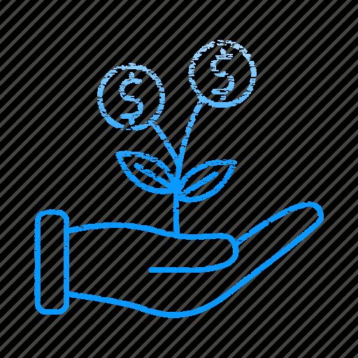 development, growth, hand, invest, startup icon