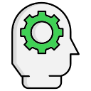 brainstorm, creative, gear, head, think, thinking icon