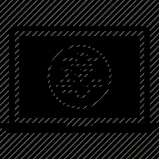 laptop, lines, programming icon