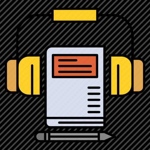 audio, book, headphone, music icon