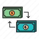 business, dollar, euro, exchange, finance, financial, money icon