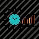 analytics, chart, graphs, market, schedule, time, trends icon